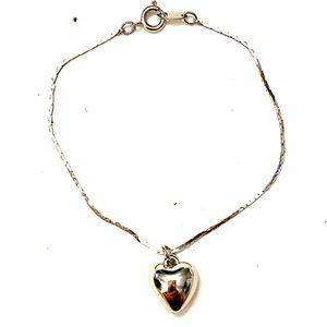 Vintage silver heart chain bracelet
